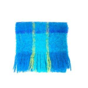 Vintage 1970s retro tartan mohair wool long scarf